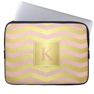 Glamour Pink and Gold Chevrons with Monogram Laptop Sleeve