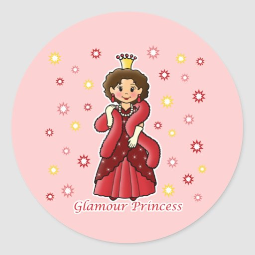 Glamour Princess Round Sticker