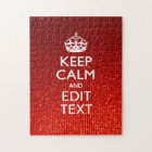 Glamour Red Festive Personalized Keep Calm Jigsaw Puzzle