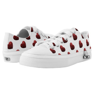 Glamour Red Glitter sparkles Heart pattern Low-Top Sneakers