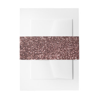Glamour Rose Gold Glitter Image Wedding Invitation Belly Band