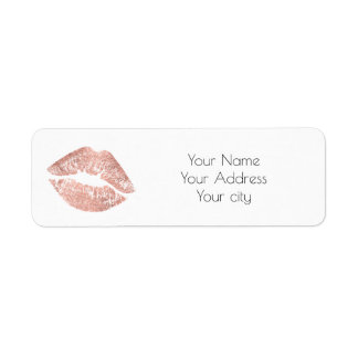 glamour rose gold lips return address label