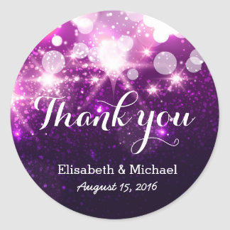 Glamour Trendy Purple Glitter Sparkles - Thank You Classic Round Sticker