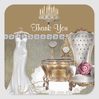 GLAMOUR WEDDING SHOWER FAVOR THANK YOU STICKERS