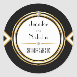 Glamourous ArtDeco Geometric Wedding Envelope Seal Round Sticker