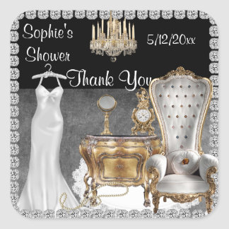 Glamourous BRIDAL  SHOWER FAVOR THANK YOU STICKERS
