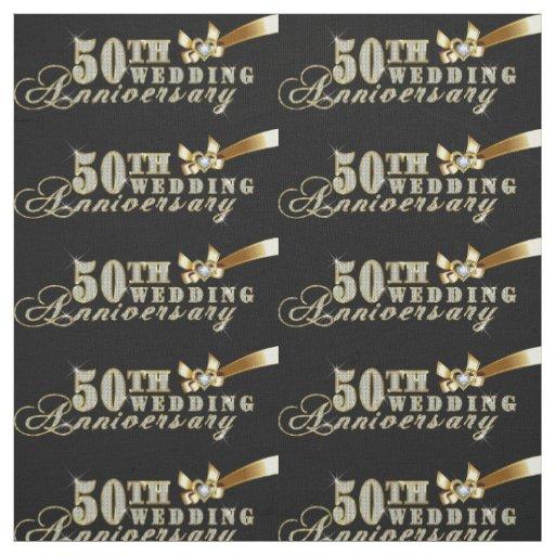 Glamourous Glitter 50th Wedding Anniversary Fabric