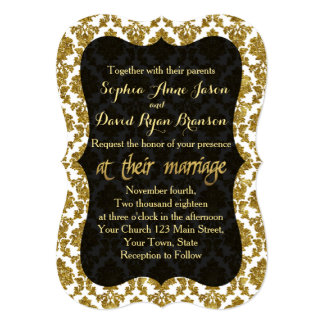 Glamourous Gold Damask Gold Foil Wedding Card