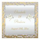 Glamourous Gold & Silver Diamonds & Doves Wedding Card