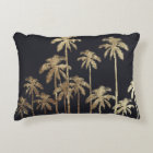 Glamourous Gold Tropical Palm Trees on Black Decorative Pillow