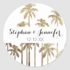 Glamourous Gold Tropical Palm Trees on White Classic Round Sticker