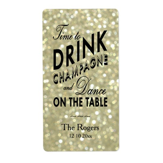 Glamourous Gold Wine Label