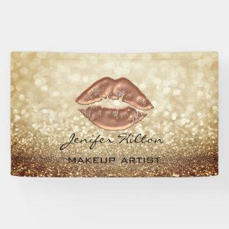 Glamourous modern chic faux glittery rosegold lips banner