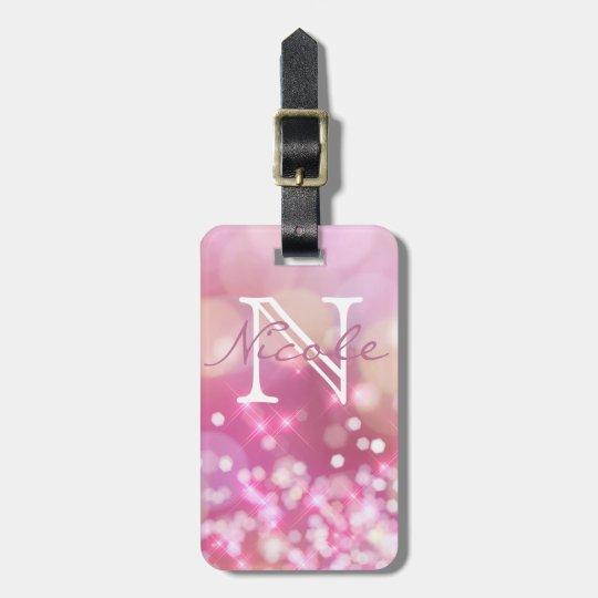Glamourous Pink Sparkle Monogram Luggage Tag