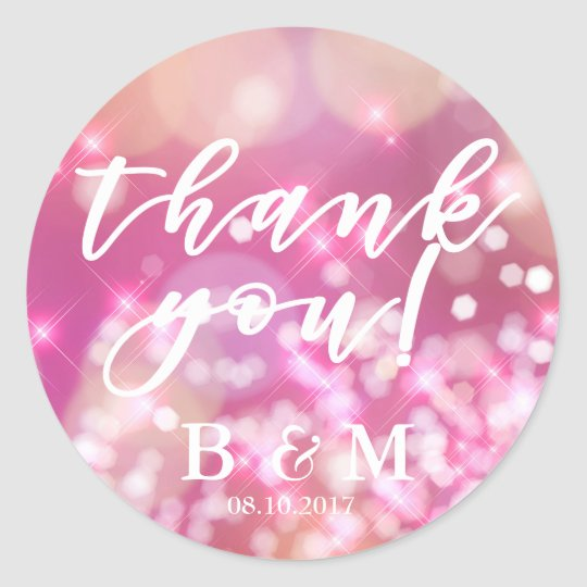 Glamourous Pink Sparkle | Wedding Favour Stickers