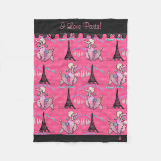 Glamourous Poodle in Paris on Pink (Personalized) Fleece Blanket