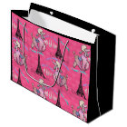 Glamourous Poodle in Paris on Strawberry Pink Large Gift Bag