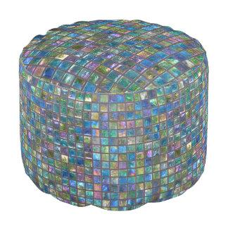 Glamourous Shiny Aqua Coloured Tiles Pouf