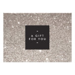 Glamourous Silver Glitter Modern Beauty Gift Card Custom Invites