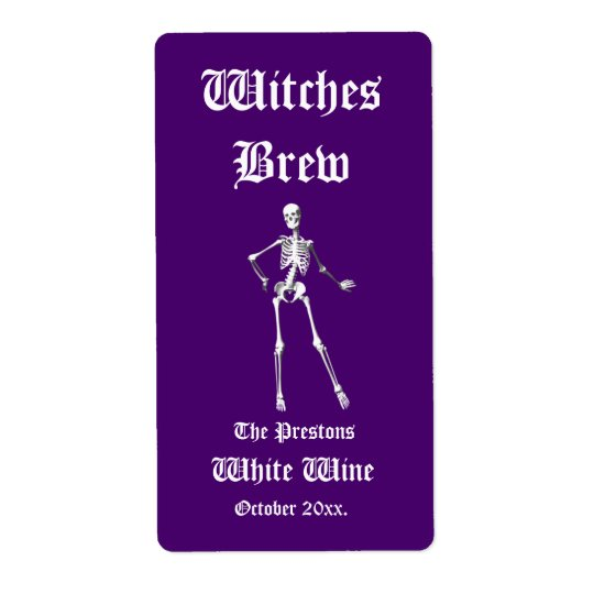 Glamourous Skeletons Witches Brew Wine Label purpl
