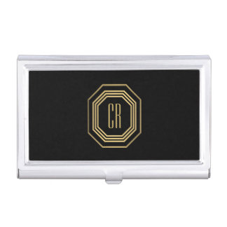 Glamourous Vintage Gold Art Deco Initials Monogram Case For Business Cards