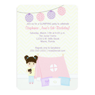 """Glamping Sleepover Party 5"""" X 7"""" Invitation Card"""