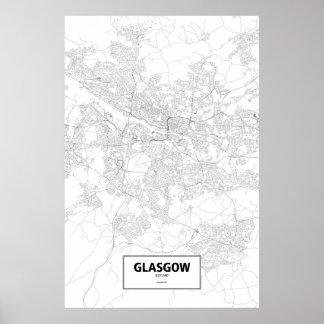 Glasgow, Scotland (black on white) Poster