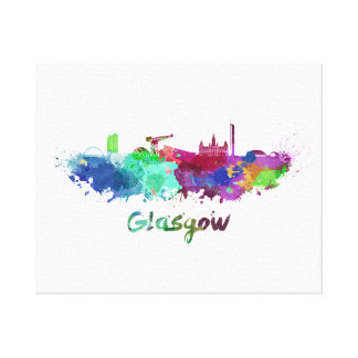 Glasgow skyline in watercolor canvas print