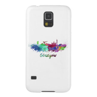 Glasgow skyline in watercolor galaxy s5 cases