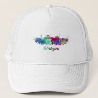 Glasgow skyline in watercolor trucker hat