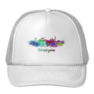 Glasgow skyline in watercolor trucker hat