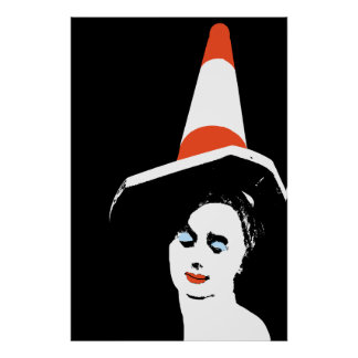 Glasgow Traffic Cone Girl Poster Print