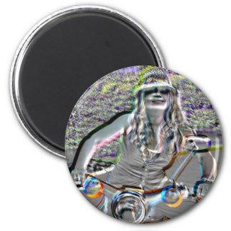 Glasha on Bike4.jpg 2 Inch Round Magnet