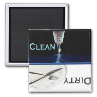 Glass and Dish Clean and Dirty Dishwasher Square Magnet