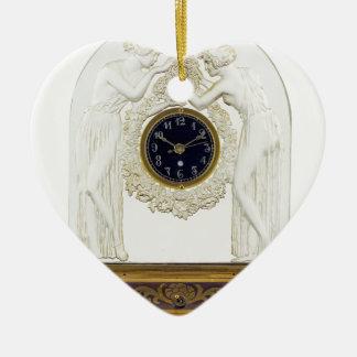 Glass Art Deco clock. Ceramic Heart Ornament