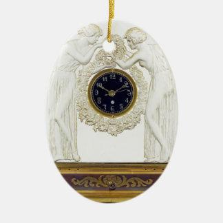 Glass Art Deco clock. Ceramic Oval Ornament
