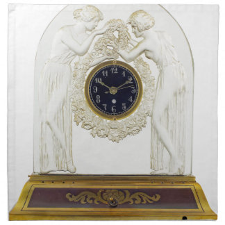 Glass Art Deco clock. Napkin