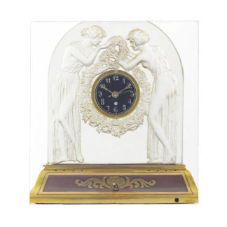 Glass Art Deco clock. Notepads