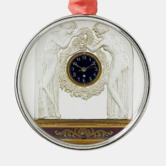 Glass Art Deco clock. Silver-Colored Round Ornament
