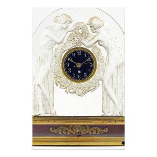 Glass Art Deco clock. Stationery