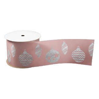 Glass Ball Stripes Silver Pink Rose Gold Satin Ribbon