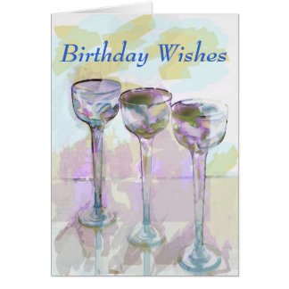 glass, Birthday Wishes Card