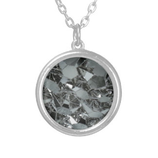 Glass Broken Pieces Silver Plated Necklace