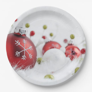 "Glass Christmas Balls Paper Plates 9"" 9 Inch"