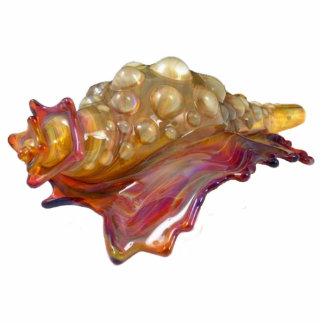 Glass Conch Shell Sculpture Standing Photo Sculpture