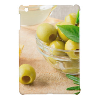 Glass cup with green pitted olives cover for the iPad mini