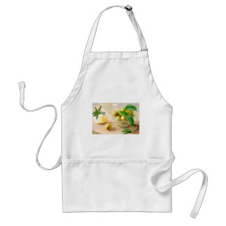 Glass cup with green pitted olives standard apron