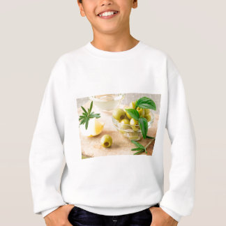Glass cup with green pitted olives sweatshirt