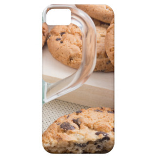 Glass cup with milk and oatmeal cookies iPhone 5 case