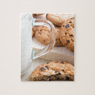 Glass cup with milk and oatmeal cookies puzzle